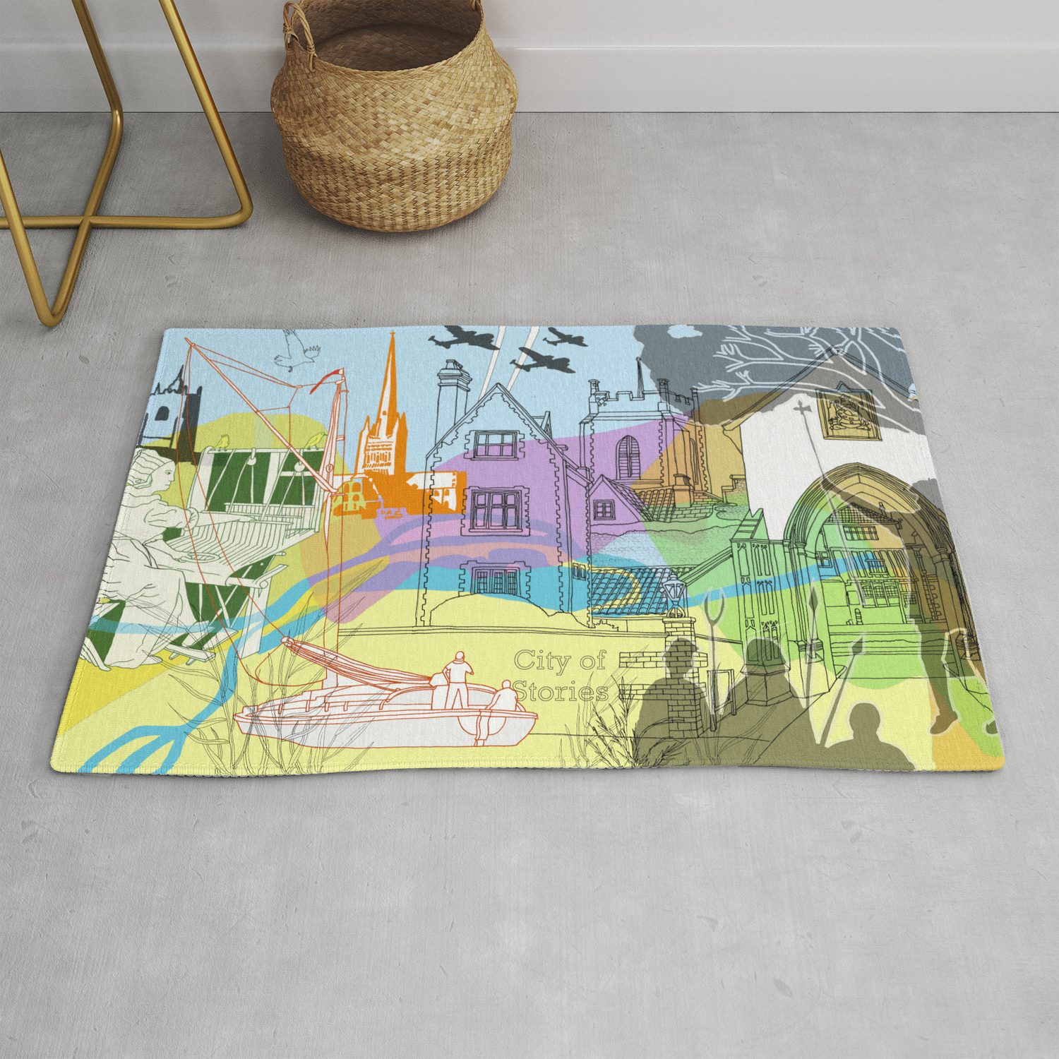 Norwich City Of Stories Rug By Davidbus