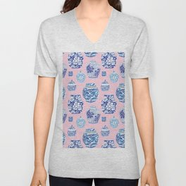 Chinoiserie Ginger Jar Collection No.7 Unisex V-Neck