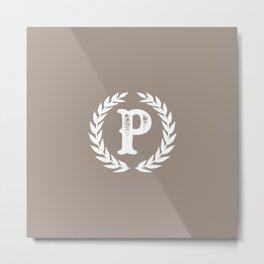 Beige Monogram: Letter P Metal Print