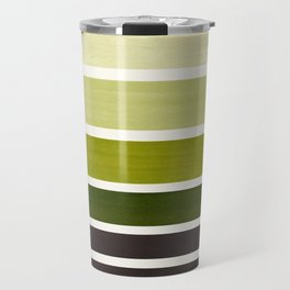 Olive Green Minimalist Watercolor Mid Century Staggered Stripes Rothko Color Block Geometric Art Travel Mug