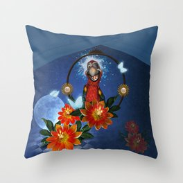 Funny cute parrot with flowers Throw Pillow