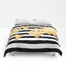 Gold world map black and white stripes Comforters