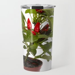 Shrub decorative pepper Kapsicum on a white background Travel Mug