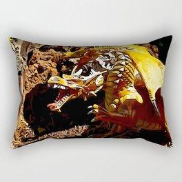 Golden Dragon Laughs Rectangular Pillow