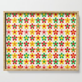 Bright Multi Colored Daisies on Cream Serving Tray
