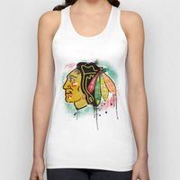 blackhawks Tank Tops featuring chicago blackhawks hockey by abstract sports