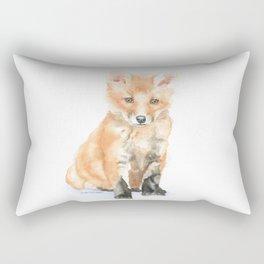 Baby Fox Watercolor Painting - Woodland Animal Rectangular Pillow