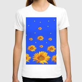 RAINING GOLDEN STARS YELLOW SUNFLOWERS BLUES T-shirt