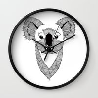 koala Wall Clocks featuring Koala by Art & Be