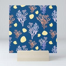 Corals & Shells Seamless Pattern with Deep Blue Background Mini Art Print