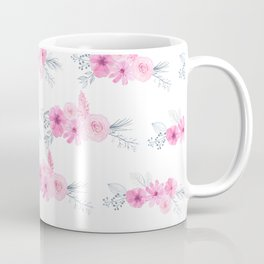 Blush pink gray watercolor hand painted elegant floral Coffee Mug