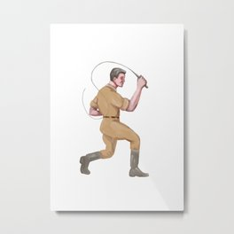 Lion Tamer Bullwhip Isolated Watercolor Metal Print