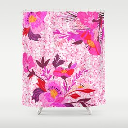 Pink Spring Flowers Mosaic Terrazzo Shower Curtain