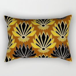 ART DECO YELLOW BLACK COFFEE BROWN AGAVE ABSTRACT Rectangular Pillow