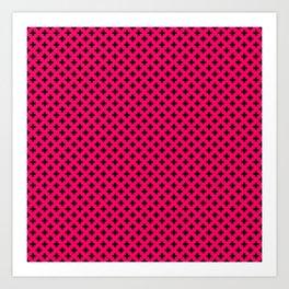 Small Black Crosses on Hot Neon Pink Art Print