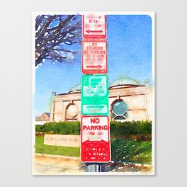 Parking Signs Water Color Canvas Print