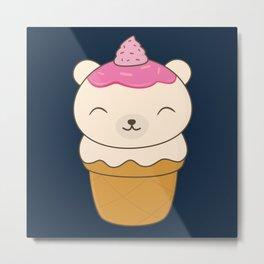 Kawaii Polar Bear Ice Cream Metal Print