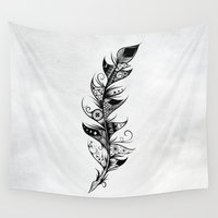 feather Wall Tapestries featuring Feather by LouJah