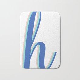 Cursive Letter H in Cobalt Blue Bath Mat