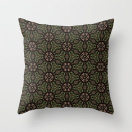 Green Forest Mandala Pattern Throw Pillow