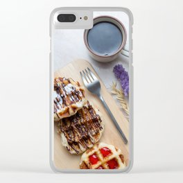Waffles with black coffee Clear iPhone Case