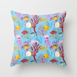 Coral Reef - All Together Water Throw Pillow