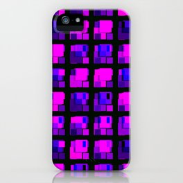 Interweaving tile of violet intersecting rectangles and dark bricks. iPhone Case
