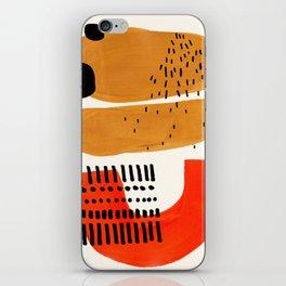 Mid Century Modern Abstract Minimalist Retro Vintage Style Fun Playful Ochre Yellow Ochre Orange Sha iPhone Skin
