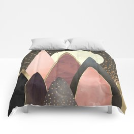 Pink and Gold Peaks Comforters