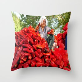 Turkish Woman Preparing Red Peppers Throw Pillow