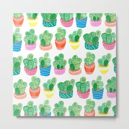 Cacti in fancy pots with smily faces. Metal Print