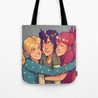powerpuff girls Tote Bags featuring POWERPUFF HUGS by avataraandy's society6