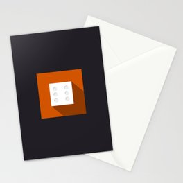 "Dice ""six"" with long shadow in new modern flat design Stationery Cards"