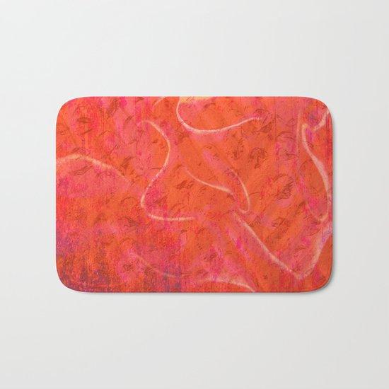 Flaming Rose, Floral Abstract Art Bath Mat