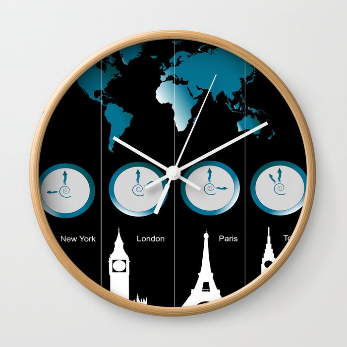 TIME ZONES. NEW YORK, LONDON, PARIS, TOKYO Wall Clock by amanvel