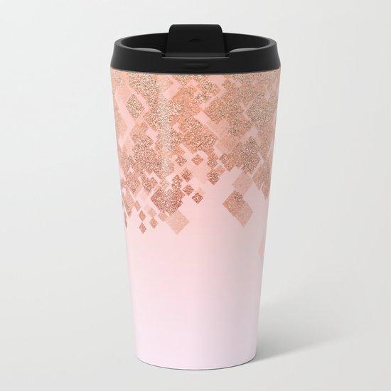Light Salmon Pink Gradient Faux Glitter Diamond Pattern Metal Travel Mug