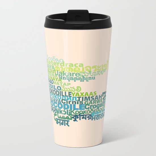 Crocodile in Different Languages Metal Travel Mug
