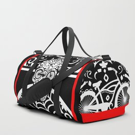 Vintage Mexican Skull with Bicycle - black and white Duffle Bag