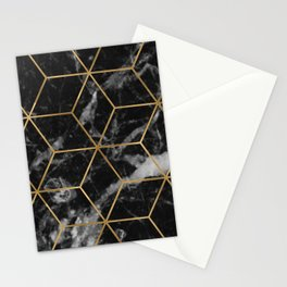 Golden deco black marble geo Stationery Cards