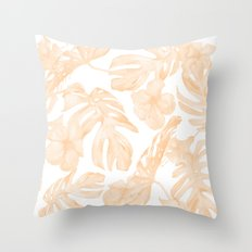 Island Vacation Hibiscus Palm Leaf Coral Apricot Orange Throw Pillow