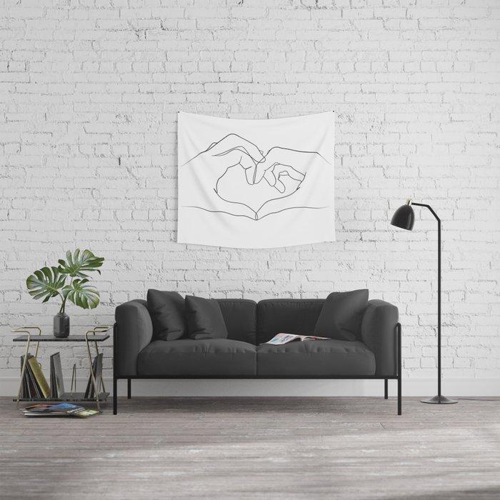 line art heart hands Wall Tapestry