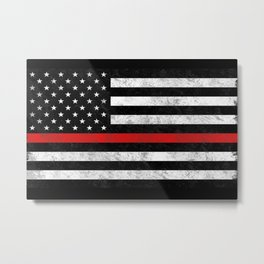 Thin Red Line Flag Metal Print