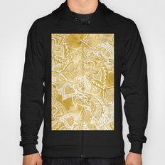 Modern lemon curry watercolor floral hand drawn pattern Hoody