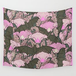 VINTAGE BATS & PINK LILIES ART Wall Tapestry