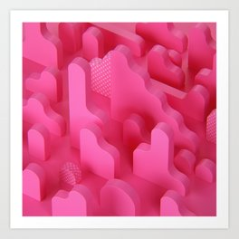 Abstract Shapes in Pink Art Print