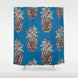 Gold Pineapples on teal Shower Curtain