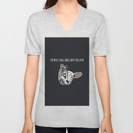 The Wolf Shall Dwell With the Lamb; Unisex V-Neck
