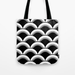 Japanese Fish Scales Black and White Tote Bag