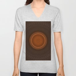 Tribal Copper Rust Mandala Design Unisex V-Neck