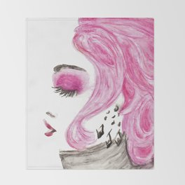 Fashion Illustration Portrait Watercolorpencil Throw Blanket